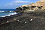 Black sand beach at Ajuy, Fuerteventura, Canary Islands, Spain