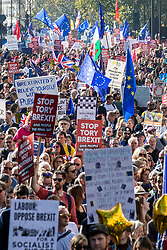 © Licensed to London News Pictures. 20/10/2018. London, UK.Thousands of protesters on the People's Vote March in central London to call on government to give the public a vote on the final Brexit deal. Photo credit: Rob Pinney/LNP