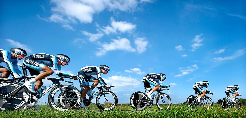 The Netherlands, Groot Haasdal, 16-09-2012.<br /> Cycling, World Championships.<br /> Time trial, men, teams.<br /> The Omega Pharma-Quickstep team.<br /> From right to left : Sylvain Chavanel, Kristof Vandewalle, Niki Terpstra, Tony Martin, Peter Velits en Tom Boonen.<br /> Photo: Klaas Jan van der Weij