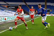 Millwall's Billy Mitchell (23) under pressure from Cardiff City's Joe Bennett (3) during the EFL Sky Bet Championship match between Cardiff City and Millwall at the Cardiff City Stadium, Cardiff, Wales on 30 January 2021.
