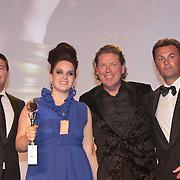 NLD/Amsterdam/20110515 - Coiffure awards 2011, Martijn Krabbe, prijswinnares Newcomer of the Year Jose de Hond  en Henkjan Smits