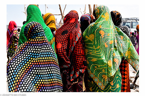 The colors and prints brighten the landscape in the Asaita Refugee Camp, Afar, Ethiopia 2016