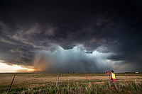 Photographer Gino Degrandis photographs a powerful supercell near Freedom, Oklahoma, May 28, 2018.