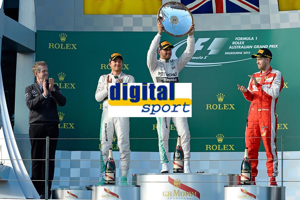 HAMILTON lewis (gbr) mercedes gp mgp w06 ambiance portrait<br /> ROSBERG nico (ger) mercedes gp mgp w06 ambiance portrait<br /> VETTEL sebastian (ger) ferrari sf15t ambiance portrait<br /> podium  during 2015 Formula 1 championship at Melbourne, Australia Grand Prix, from March 13th to 15th. Photo DPPI / Eric Vargiolu. during 2015 Formula 1 championship at Melbourne, Australia Grand Prix, from March 13th to 15th. Photo DPPI / Eric Vargiolu.