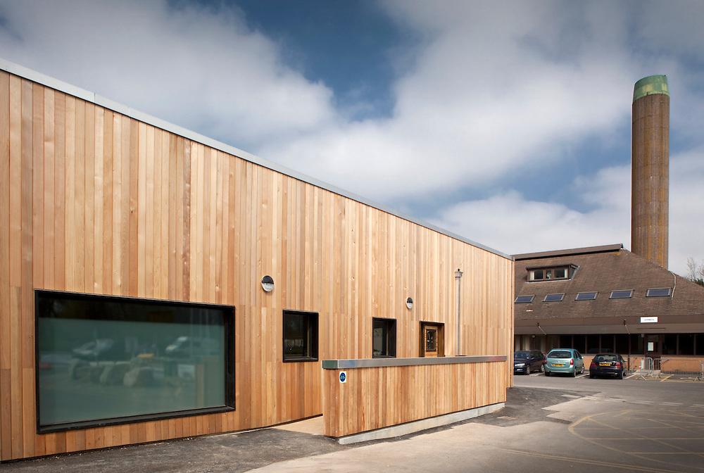 modern cancer unit at weston super mare hospital. Wooden cladding