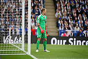 Burnley's Joe Hart see's the funny side during the Premier League match between Leicester City and Burnley at the King Power Stadium, Leicester, England on 10 November 2018.