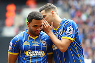 Andy Barcham midfielder for AFC Wimbledon (17) and Connor Smith defender for AFC Wimbledon (18) AFC Wimbledon before the Sky Bet League 2 play off final match between AFC Wimbledon and Plymouth Argyle at Wembley Stadium, London, England on 30 May 2016. Photo by Stuart Butcher.
