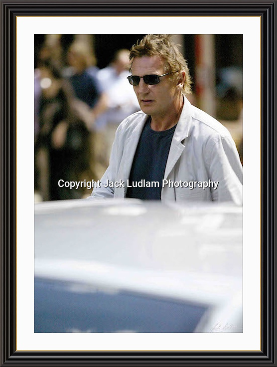 Liam Neeson Charlotte st London<br /> A3 Museum-quality Archival signed Framed Print