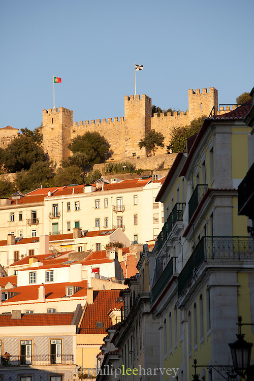 The medieval Castle of Sao Jorge sits overlooking Lisbon, capital city of Portugal