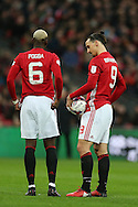 Zlatan Ibrahimovic of Manchester Utd ® gets advice off teammate Paul Pogba before he takes a free-kick from which he scores a goal. EFL Cup Final 2017, Manchester Utd v Southampton at Wembley Stadium in London on Sunday 26th February 2017. pic by Andrew Orchard, Andrew Orchard sports photography.