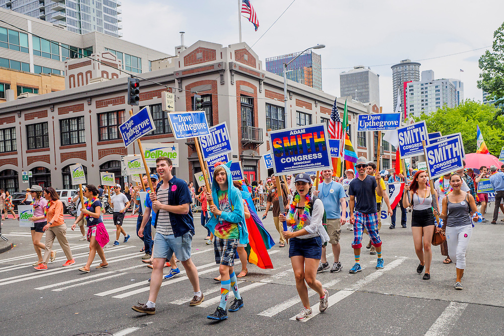 United States, Washington, Seattle Gay Pride Parade, June 28th, 2015. Supporters of various political candidates march.