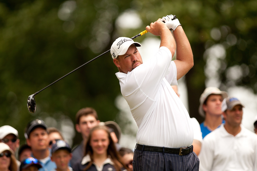 BETHESDA, MD - JULY 1: Brendon De Jonge of South Africa plays a tee shot during the final round of the 2012 AT&T National at Congressional Country Club in in Bethesda, Maryland on July 1, 2012. (Photograph ©2012 Darren Carroll) *** Local Caption *** Brendon De Jonge