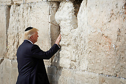 May 22, 2017 - Jerusalem, Israel -  U.S. President DONALD TRUMP visits the Western Wall in Jerusalem. President Trump arrived in Israel for a two day visit, as part of his first trip abroad since being elected. (Credit Image: © Xinhua via ZUMA Wire)