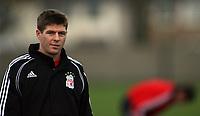 Photo: Paul Thomas.<br /> Liverpool Training session. UEFA Champions League. 21/11/2006.<br /> <br /> Steven Gerrard.
