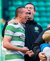 24/05/15 SCOTTISH PREMIERSHIP<br /> CELTIC v INVERNESS CT<br /> CELTIC PARK - GLASGOW<br /> Celtic captain Scott Brown (left) celebrates with manager Ronny Deila at full-time