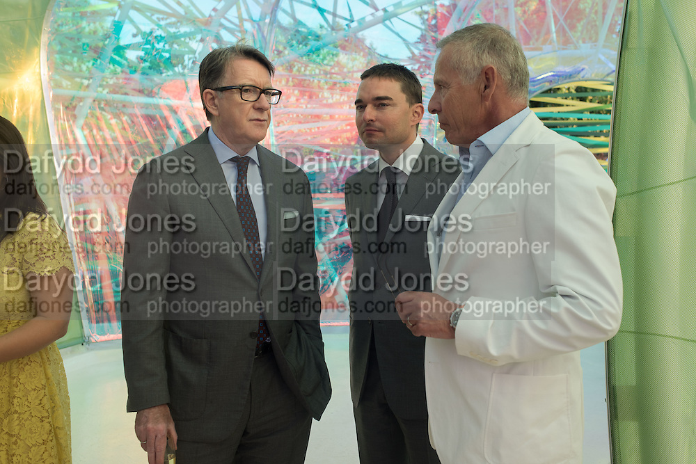 LORD PETER MANDELSON; Reinaldo Avila da Silva; Carl Michaelson, Serpentine's Summer party co-hosted with Christopher Kane. 15th Serpentine Pavilion designed by Spanish architects Selgascano. Kensington Gardens. London. 2 July 2015.
