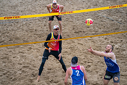 Erik van der Schaaf, Robert Meeuwsen in action. The DELA NK Beach volleyball for men and women will be played in The Hague Beach Stadium on the beach of Scheveningen on 22 July 2020 in Zaandam.