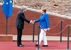 26.05.2017, Taormina, ITA, 43. G7 Gipfel in Taormina, im Bild v.l. Italiens Premierminister Paolo Gentiloni, German Chancellor Angela Merkel // during the 43rd G7 summit in Taormina, Italy on 2017/05/26. EXPA Pictures © 2017, PhotoCredit: EXPA/ Johann Groder