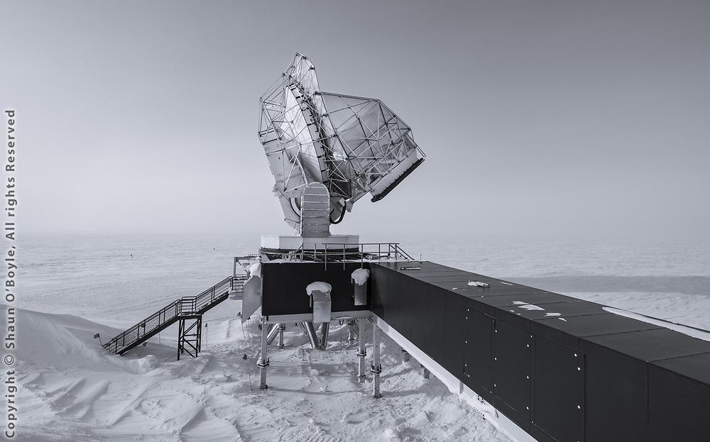 The South Pole Telescope and the vast Polar Plateau beyond.