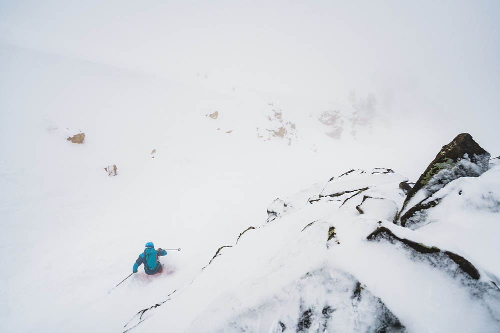 Luke Hinz skiing Main Chute, Mount Baldy, Alta, Utah.