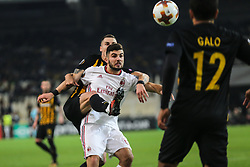 ATHENS, Nov. 3, 2017  Patrick Cutrone (C) of AC Milan competes during the UEFA Europa League group D match between AEK Athens and AC Milan in Athens, Greece on Nov. 2, 2017. The match ended with a 0-0 tie. (Credit Image: © Lefteris Partsalis/Xinhua via ZUMA Wire)