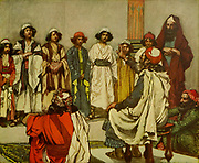 JESSE PRESENTS HIS SONS TO SAMUEL I Samuel xvi. 10 Again, Jesse made seven of his sons to pass before Samuel And Samuel said unto Jesse, The Lord hath not chosen these From the book ' The Old Testament : three hundred and ninety-six compositions illustrating the Old Testament ' Part II by J. James Tissot Published by M. de Brunoff in Paris, London and New York in 1904