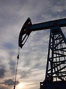 Silhouette of oil pump, near Ekaterinburg, Russia