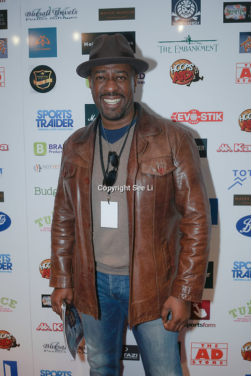 London,England,UK. 14th May 2017. Winston Ellis  attends the BBL Play-Off Finals also fundraising for Hoops Aid 2017 but also a major fundraising opportunity for the Sports Traider Charity at London's O2 Arena, UK. by See Li