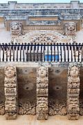 Ancient stone mythical creatures and gargoyles on Palazzo Nicolaci di Valladorata in Baroque Noto city, Sicily