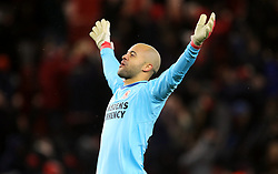 Middlesbrough goalkeeper Darren Randolph celebrates after Patrick Bamford scores the game's second goal of the game during the Sky Bet Championship match at the Riverside Stadium, Middlesbrough.