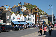 The historic old town of Hastings with views of East Hill on the 20th April 2019 in Hastings in the United Kingdom. Hastings is a town on England's southeast coast, its known for the 1066 Battle of Hastings.