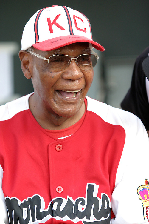 18 July 2006: Buck O'Neil prepares to bat in the 1st inning in the Northern League All-star game at CommunityAmerica Ballpark in Kansas City, KS. Buck O'Neil is now recognized as the oldest man to play professional baseball.