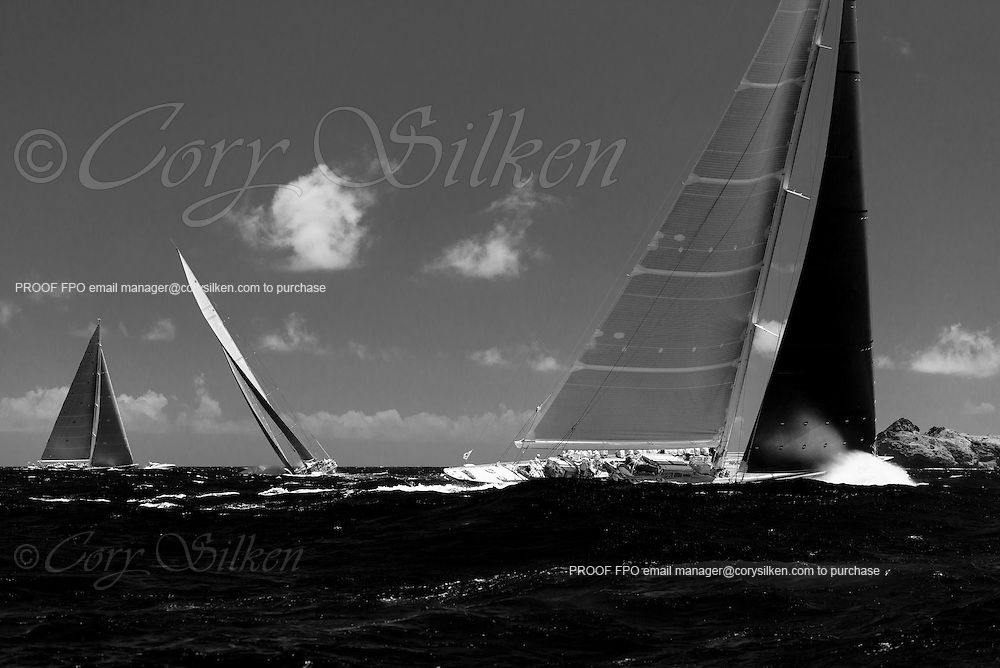 Topaz, Ranger, and Velsheda sailing in the  at the St. Barth's Bucket Regatta. Photo by Cory Silken.