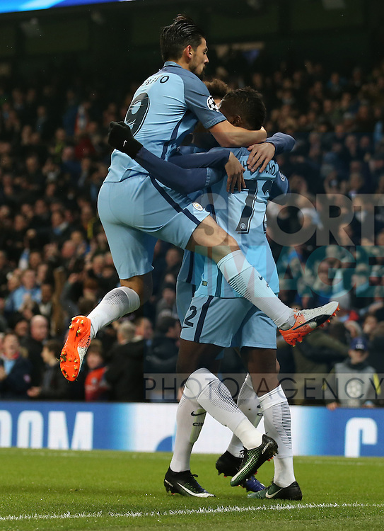 Nolito of Manchester City jumps on first goalscorer Kelechi Iheanacho of Manchester City during the Champions League Group C match at the Etihad Stadium, Manchester. Picture date: December 6th, 2016. Pic Simon Bellis/Sportimage