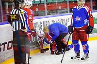 Ishockey , GET-Ligaen , Eliteserien <br /> Tirsdag 1. desember , 20151201<br /> Vålerenga - Lørenskog<br /> Filip Gunnarsson nede for telling etter en tackling i andre periode<br /> Foto: Sjur Stølen / Digitalsport