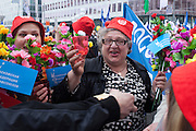 Moscow, Russia, 01/05/2011..A group of women sing and drink vodka as trade unions and supporters of the pro Kremlin United Russia party demonstrate in central Moscow. A variety of political groups took to the streets on the traditional Russian Mayday holiday.