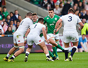 Ireland hooker Adam McBurney runs into England prop Lewis Boyce and second-row Stan South during the World Rugby U20 Championship Final   match England U20 -V- Ireland U20 at The AJ Bell Stadium, Salford, Greater Manchester, England onSaturday, June 25, 2016. (Steve Flynn/Image of Sport)