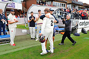 Marcus Trescothick of Somerset leaves the field in his last match and is hugged by Somerset head coach Jason Kerr as he walks off to retire from playing to a round of applause during the Specsavers County Champ Div 1 match between Somerset County Cricket Club and Essex County Cricket Club at the Cooper Associates County Ground, Taunton, United Kingdom on 26 September 2019.
