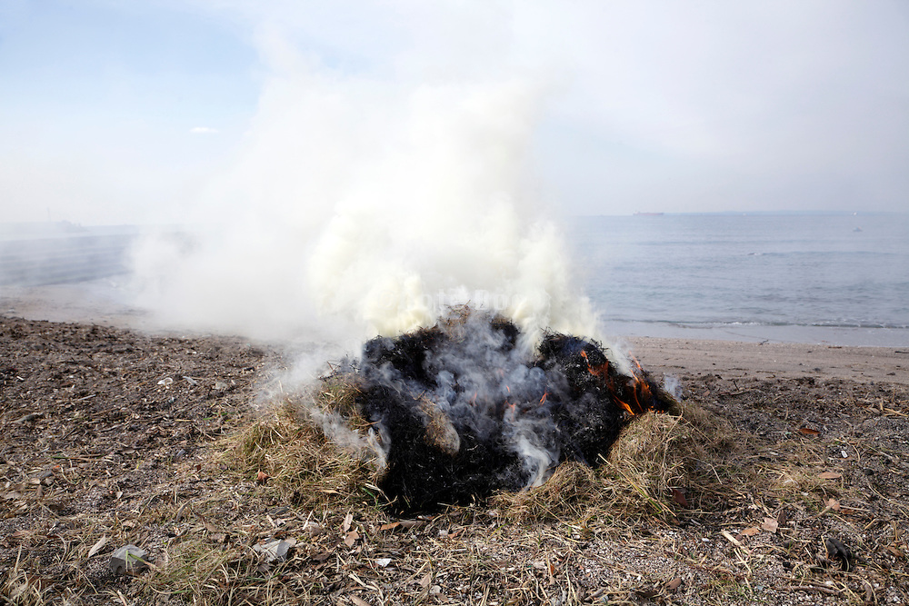 a bail of collected beach straw burning at the water edge Tokyo bay