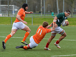 March 4, 2017 - Amsterdam, Netherlands - Vasco Fragoso Mendes of Portragul is tackled by Sep Visser of the Netherlands during the Rugby Europe Trophy match between the Netherlands and Portugal at the National Rugby Centre Amsterdam on March 04, 2017 in Amsterdam, Netherlands  (Credit Image: © Andy Astfalck/NurPhoto via ZUMA Press)