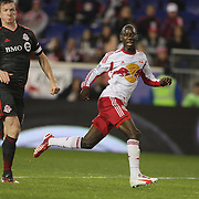 Steven Caldwell, (left), Toronto Fc, cuts out a pass intended for Bradley Wright-Phillips, New York Red Bulls,  during the New York Red Bulls Vs Toronto FC, Major League Soccer regular season match at Red Bull Arena, Harrison, New Jersey. USA. 11th October 2014. Photo Tim Clayton