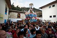 "Feast of ""Mamacha del Carmen"" of Paucartambo. The procession of the ""dia central"" walk across the village."