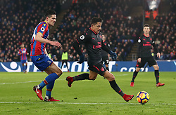 Crystal Palace's Martin Kelly battle for the ball and Arsenal's Alexis Sanchez battle for the ball during the Premier League match at Selhurst Park, London.