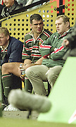 Watford. Great Britain. <br /> Tiger'e Captain, Martin JOHNSON, chat's with coach, Dean RICHARDS, during his 10 minutes in the sin bin, during the <br /> Heineken Cup Semi Final; Gloucester Rugby vs Leicester Tigers. Vicarage Road Stadium, Hertfordshire.England.  <br /> <br /> [Mandatory Credit, Peter Spurrier/ Intersport Images].