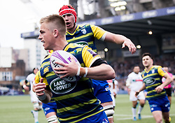 Cardiff Blues' Gareth Anscombe celebrates scoring his sides first try<br /> <br /> Photographer Simon King/Replay Images<br /> <br /> European Rugby Challenge Cup - Semi Final - Cardiff Blues v Pau - Saturday 21st April 2018 - Cardiff Arms Park - Cardiff<br /> <br /> World Copyright © Replay Images . All rights reserved. info@replayimages.co.uk - http://replayimages.co.uk