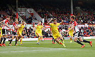Brentford midfielder John Swift takes the ball on his chest to create a very good chance in the second half during the Sky Bet Championship match between Brentford and Rotherham United at Griffin Park, London, England on 17 October 2015. Photo by Andy Walter.