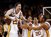 24 February 2007: Teammates celebrate with senior player #10 Chris Penrose after the  NCAA Pac-10 Men's college basketball USC Trojans closes out its regular season at the Galen Center with a 84-66 win over the Cal Bears in Los Angeles, CA.