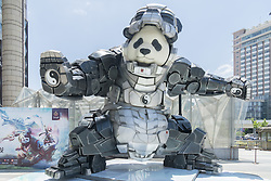 June 11, 2017 - Shanghai, Shanghai, China - Shanghai, CHINA-June 11 2017: (EDITORIAL USE ONLY. CHINA OUT) A 7-meter-tall iron panda can be seen in front of a shopping mall in Shanghai, June 11th, 2017. The giant Taichi Panda weighing 5 ton attracts many people's attention. (Credit Image: © SIPA Asia via ZUMA Wire)