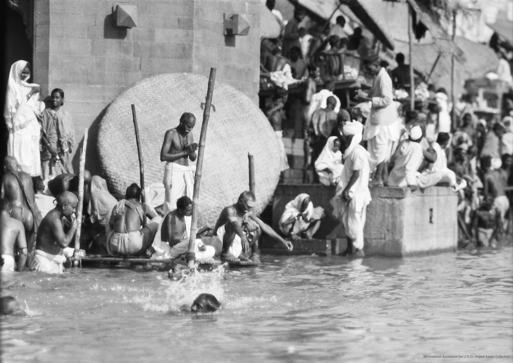 Bathing Scene, Benares, India, 1929