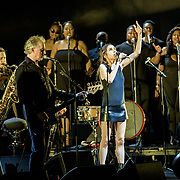 VIENNA, VA - July 21st, 2017 - PJ Harvey (front, right) performs with Anacostia's Union Temple Baptist Church Choir at the Filene Center at Wolf Trap in Vienna, VA. A trip to Washington, D.C. in 2016 inspired much of Harvey's latest album, The Hope Six Demolition Project. (Photo by Kyle Gustafson / For The Washington Post)